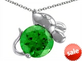Original Star K™ Mouse Pendant With Round Simulated Emerald