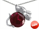Original Star K™ Mouse Pendant With Round Created Ruby