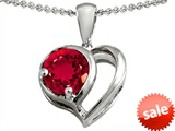 Original Star K™ Heart Shape Pendant With Round Created Ruby style: 305597