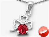 Celtic Love by Kelly Round Created Ruby Lucky Clover Pendant
