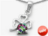 Celtic Love by Kelly Round Genuine Mystic Topaz Lucky Clover Pendant style: 305599