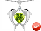 Original Star K™ Kissing Dolphins Pendant With Heart Shape Genuine Peridot