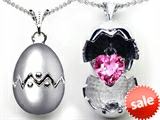 Original Star K™ Egg Pendant with September Birthstone Heart Created Pink Sapphire Surprise Inside style: 305606