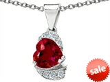 Original Star K™ Heart Shape 8mm Created Ruby Pendant