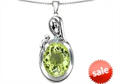 Original Star K™ Loving Mother With Child Family Pendant With Oval 11x9mm Simulated Peridot