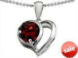 Original Star K™ Heart Shape Pendant With Round 7mm Garnet