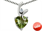 Original Star K™ Heart Shape 8mm Simulated Green Sapphire Pendant