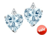 Tommaso Design™ 7mm Heart Shape Simulated Aquamarine and Genuine Diamond Earring Studs