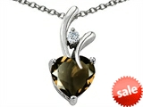 Original Star K™ 8mm Heart Shape Genuine Smoky Quartz Pendant