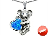Original Star K™ Love Bear Hugging Birthstone of October 8mm Heart Shape Created Blue Opal style: 305637