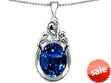 Original Star K™ Large Loving Mother Twin Children Pendant With Oval Created Sapphire 11x9mm