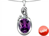 Original Star K™ Loving Mother With Child Family Pendant With Oval 11x9mm Simulated Amethyst style: 305646