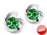 Original Star K™ Round 6mm Simulated Emerald Flower Earrings Studs style: 305649