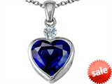 Original Star K™ 10mm Heart Shape Created Sapphire Heart Pendant
