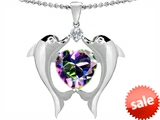 Original Star K™ Kissing Love Dolphins Pendant With 8mm Heart Shape Mystic Rainbow Topaz