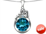 Original Star K™ Loving Mother And Father With Child Family Round 10mm Simulated Blue Topaz Pendant