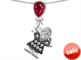 Original Star K™ Little Girl Holding a Balloon Mother Birthstone 9x7mm Pear Shape Created Ruby Pendant