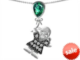 Original Star K™ Little Girl Holding a Balloon Mother Birthstone 9x7mm Pear Shape Simulated Emerald Pendant