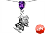 Original Star K™ Little Girl Holding a Balloon Mother Birthstone 9x7mm Pear Shape Genuine Amethyst Pendant