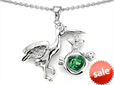 Original Star K™ New Baby Stork Mother Pendant with Heart Shape 8mm Simulated Emerald