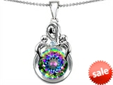 Original Star K™ Large Loving Mother With Twins Children Pendant With 10mm Round Mystic Topaz