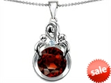Original Star K™ Large Loving Mother With Twins Children Pendant With Round 10mm Simulated Garnet style: 305675
