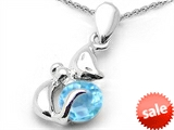 Original Star K™ Round 6mm Simulated Aquamarine Cat Pendant