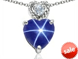 Original Star K™ 8mm Heart Shape Created Star Sapphire Pendant