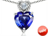 Original Star K™ 8mm Heart Shape Created Blue Sapphire Pendant style: 305682