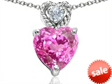 Original Star K™ 8mm Heart Shape Created Pink Sapphire Pendant style: 305683