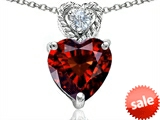 Original Star K™ 8mm Heart Shape Genuine Garnet Pendant style: 305684