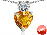 Original Star K™ 8mm Heart Shape Genuine Citrine Pendant