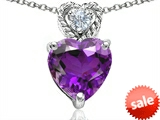Original Star K™ 8mm Heart Shape Genuine Amethyst Pendant