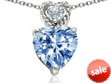 Original Star K™ 8mm Heart Shape Simulated Aquamarine Pendant style: 305690