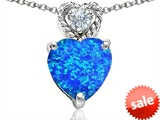 Original Star K™ 8mm Heart Shape Blue Simulated Opal Pendant style: 305691