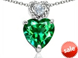Original Star K™ 8mm Heart Shape Simulated Emerald Pendant style: 305693