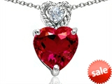 Original Star K™ 8mm Heart Shape Created Ruby Pendant