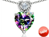 Original Star K™ 8mm Heart Shape Rainbow Mystic Topaz Pendant style: 305695