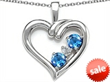 Original Star K™ Open Heart 3 Stone Pendant with Genuine Blue Topaz