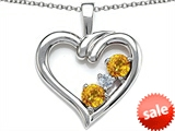 Original Star K™ Open Heart 3 Stone Pendant with Genuine Citrine