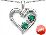 Original Star K™ Open Heart 3 Stone Pendant with Simulated Emerald style: 305698