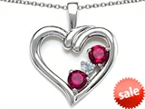 Original Star K™ Open Heart 3 Stone Pendant with Created Ruby