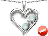 Original Star K™ Open Heart 3 Stone Pendant with Simulated Opal style: 305700