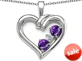 Original Star K™ Open Heart 3 Stone Pendant with Genuine Amethyst style: 305703