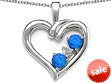 Original Star K™ Open Heart 3 Stone Pendant with Created Blue Opal