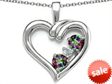 Original Star K™ Open Heart 3 Stone Pendant with Rainbow Mystic Topaz