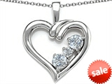 Original Star K™ Open Heart 3 Stone Pendant with Genuine White Topaz