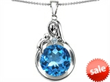 Original Star K™ Loving Mother With Child Family Large Pendant With Round 10mm Simulated Aquamarine