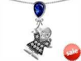 Original Star K™ Girl Holding a Balloon Mother September Birthstone Pear Shape Created Sapphire Pendant