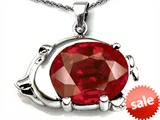 Original Star K™ Lucky Pig Pendant With Large Oval Created Ruby 12x10mm style: 305711